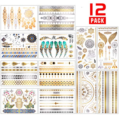 Chefic Temporäre Tattoo 200 Design, Metallic Boho Tattoos Wasserdicht Klebetattoos Aufkleber, Gold Silber Glitzer Festival Tattoos Kinder Tätowierung Armband Fußkette Finger Body Art- 12 Blätter -