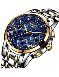 Relojes para Hombres,Impermeable Acero Inoxidable Reloj analógico de Cuarzo para Hombre Marca de Lujo