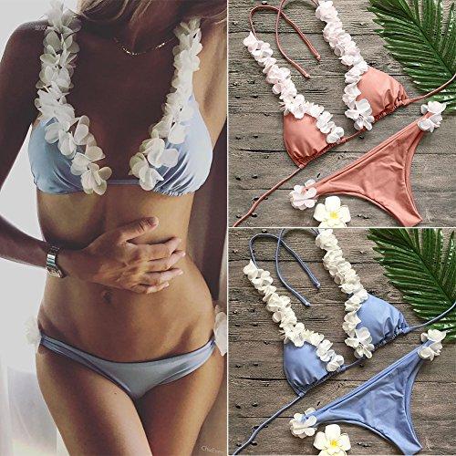 petaled Bikini Badeanzug für Frauen, 2018 neue Art Push Up Bikini Set sexy gepolsterte Dreieck oben und unten, Boho Beach Bademode - Koralle