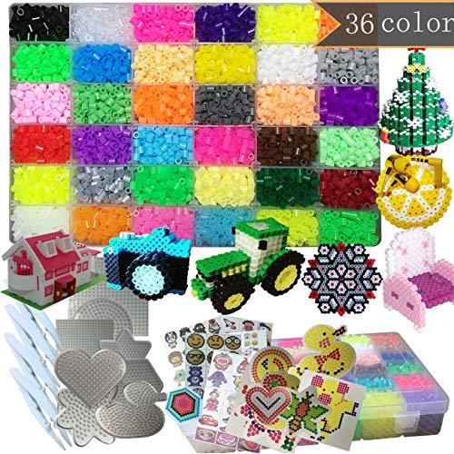 PPEEGOO 11100 Perles à Repasser - 5mm 36 Couleurs (6 Brille dans Le Noir) Perles 8 Plaques+4repassage Papier 4Brucelles+Accessoires de Mode Kit de Perles de Bricolage Beadsrangement Kit