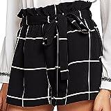 OIKAY Kurze Hosen Damen Sommer Womens Plaid Mid Loose Waist Hot Shorts Hosen Hose Jersey Walking Shorts(Schwarz,XL)