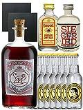 Gin-Set Monkey 47 SLOE GIN Schwarzwald Dry Gin 0,5 Liter + Siegfried Dry Gin Deutschland 4cl + Gordons Dry Gin 5cl + 8 Thomas Henry Tonic Water 0,2 Liter + 2 Schieferuntersetzer quadratisch 9,5 cm