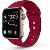 Sport Band Compatible With Apple Watch 42MM 44MM, Soft Silicone Replacement Strap Compatible For Apple Watch Series 4/3/2/1 (