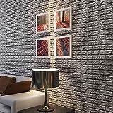 SINOTECHQIN 3D Brick Wall Stickers Selbstklebende Panel-Aufkleber PE-Schaum-Tapete, Anti-Mehltau, Antifouling, Landschaftsbau und feuchtigkeitsfest Size 60cmx60cmx0.8cm (Gray)
