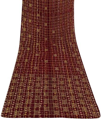 Vintage indische Polyester Saree Hand wulstige Maroon Craft Stoff Ethnic Sari Gebraucht -