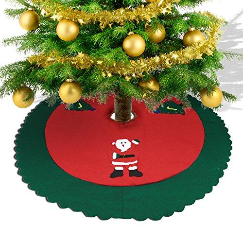 Konsait Falda del Árbol de Navidad rojo 35 Pulgadas de Navidad Fieltro Árbol Falda Base Mat Cubierta con Santa Claus para adornos de Navidad decoración de vacaciones (90cm)