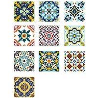 VORCOOL Autoadhesivo azulejos Decorativos en Vinilo Adhesivo impermeable para baño de cocina Diy 10 piezas