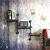 JJZSJ Loft Retro Eisenpfeife Racks, Wand-Regalböden, Massivholz alte Bücherregale Lagerregal Wandhalterung