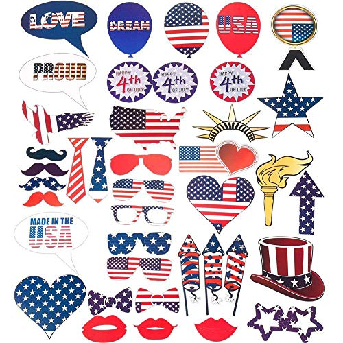 Naisicatar 4. Juli Photo Booth Props Patriotic Party Props American Independence Day Partydekoration Partei-Bevorzugungen 40Pcs -