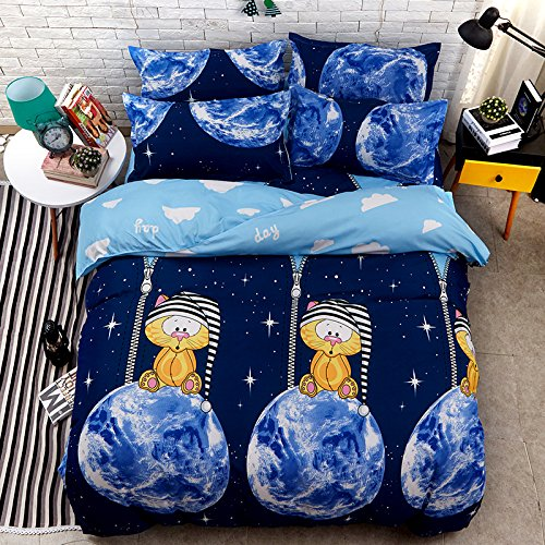 KFZ Bett Set (Zwei Full Queen King Size) [4 Stück: Bettbezug, Bettlaken, 2 Kissenbezüge] keine Tröster KSN Time Tunnel Fruit Gericht Ballon Reise Sommer Wassermelone Little Red Riding Fruit Cartoon Design für Jugendliche, Kinder, Erwachsene, Microfaser, Time Tunnel, Blue, King 86