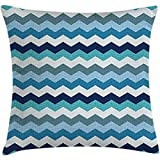 Throw Pillow Aqua Cushion Cover, Retro Vintage Chevron Geometrical Zig Zag Stripes, Decorative Square Accent Pillow Case, 18 X 18 Inches, Turquoise Light Blue Navy Blue and Seafoam