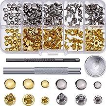 Hotop 120 Set de Remache de Cuero Remache de Una Tapa Pernos Tubulares de Metal con Kit de Herramienta de Fijación para Decoración Reparación de Cuero Artesanía, 3 Tamaños