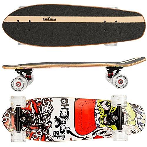 FunTomia Skateboard 66cm - 7ply strati di acero canadese o bambù - Con o senza ruote a LED (route66 / senza ruote LED / 5 strati di acero canadese o 2 strati di bambù)