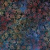 Blaugrün Blau Lotus Design 100% Baumwolle Bali Batik tie dye Muster Stoff für Patchwork, Quilten &,–(Preis pro/Quarter Meter)