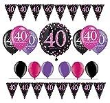 Feste Feiern Geburtstagsdeko Zum 40. Geburtstag I 14 Teile All-In-One Set Folienballon Ballon Wimpelkette Pink Schwarz Violett Party Deko Happy Birthday