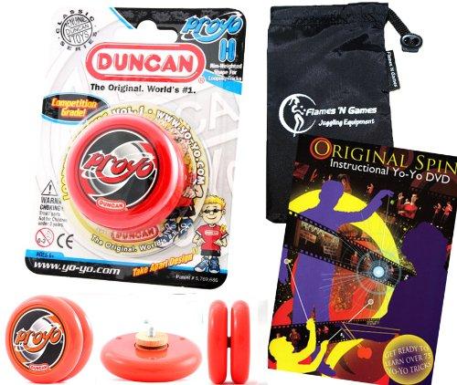 Duncan ProYo YoYo (Rot) Ideal Yo Yo für Anfänger + 75 Yo-Yo Tricks DVD in Englisch + Stoff Reisetasche! Große YoYo für Kinder und Erwachsene! (Yo Yo Proyo Duncan)