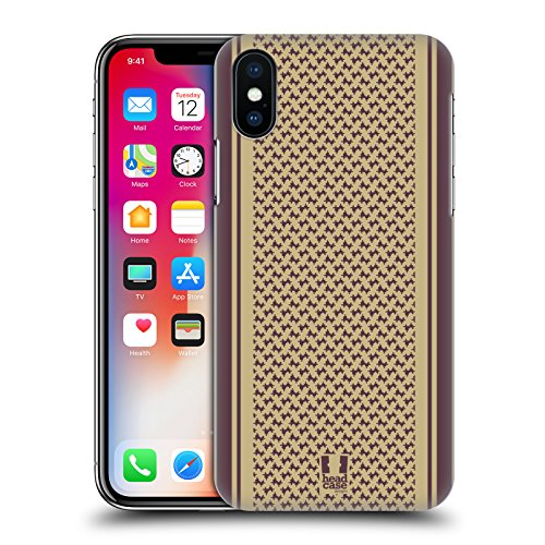 Head Case Designs Marrone Ispirato Alle Sciarpe Cover Retro Rigida per Apple iPhone X Marrone