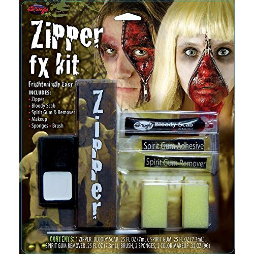 HALLOWEEN MAKEUP FACE PAINT VAMPIRE DEVIL WITCH ZOMBIE CLOWN SET KIT FAKE COLOUR (Zipper Fx Kit)