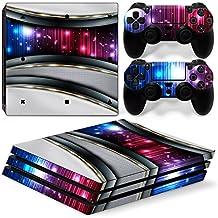 46 North Design Ps4 Pro Playstation 4 Pro Pegatinas De La Consola Silver Galaxy + 2 Pegatinas Del Controlador