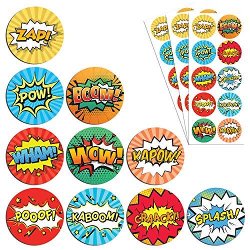 TownStix Superheld Kinder Aufkleber Sticker Set - 10 Designs, 20 Blätter, 200 Stücke