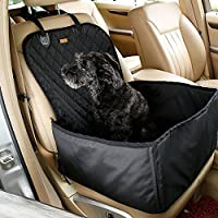 Kisspet 2 in 1 Pet Dog Car Supplies Thick Waterproof Single Front Seat Pet Car Mat Booster Bag Pet Carrier Seat Protector Travelling (Black)