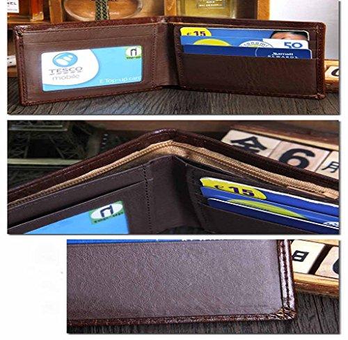 Covermason Männer Bifold Geldbeutel Geschäfts Leder Geldbörse D Kreditkarteninhaber Geldbörse Taschen (Schwarz) Braun