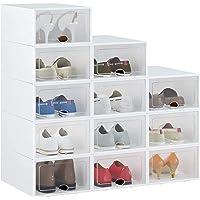 HOMIDEC 12pcs Boîtes à chaussures,boîtes de rangement pour chaussures en plastique transparent empilables,conteneurs…