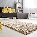 mynes Home Hochflor Teppich Hochwertiger Shaggy Langflor mit 50 mm Florhöhe Auch Läufer & Brücke in Verschiedenen Farben Premium für Wohnzimmer & Jugendzimmer (Beige, 120cm x 170cm)