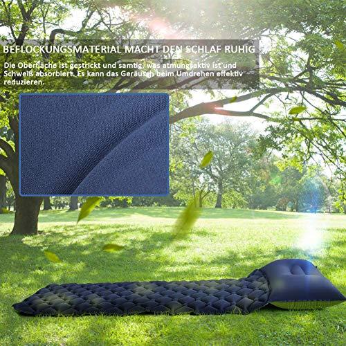 GEEDIAR Isomatte Camping aufblasbare Luftmatte mit Kissen 190x59x6 cm Farbe dunkel blau, ultraleicht tragbare Luftmatratze für Camping Ausflug Deppel Zelt inkl. kleinem Packsack - 3