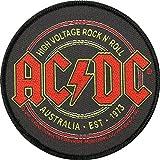 AC/DC Aufnäher HIGH VOLTAGE ROCK N ROLL Patch gewebt 9 cm
