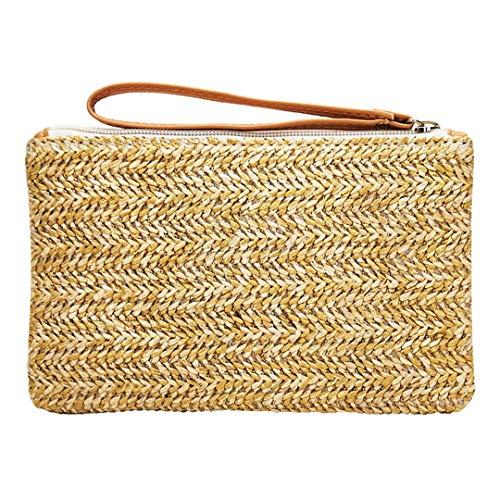 VADFLOD Bohemian Frauen Stroh Tasche Clutch Taschen Handtasche Handmade Rattan Bag Mais Peelings Woven Casual Strandtasche, Gold, One_Size -
