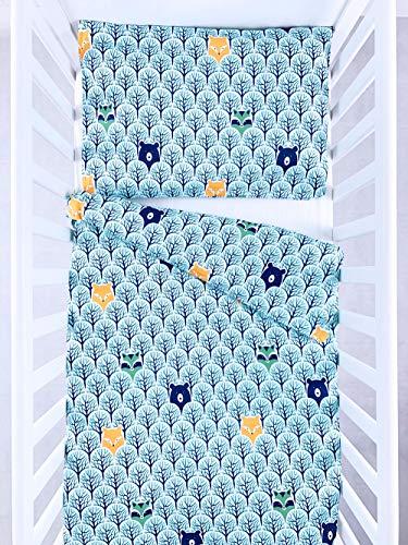 BABEES© Premium Kinder Bettwäsche mit Reißverschluss Deckenbezug 100x135 mit Kissenbezug 60x40, Bettwäsche-Set Bettbezug 100% Baumwolle natur Ökotex Babybettwäsche Kinderbettwäsche (WALD)
