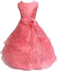 LSERVER- Pizzo Floreale Bowknot del Organza ragazza vestito ricamato con paillette da ragazza Princess-Abito da sposa