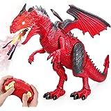 Baztoy Ferngesteuertes Dinosaurier Spielzeug Elektronik Dino Spiele Fernbedienung Tier Kinderspielzeug mit Gehen, simuliertem Brüllen, Sprühen, Kopfschütteln, Cool Geschenk für Jungs Mädchen