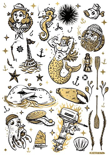 TATATAT das Streetart Label aus Berlin Temporäre Tattoos #007 sea & sailor by Robokid Tätowierungsaufkleber Tattoo Tat Damen Herren Kinder Körperkunst Aufkleber (Gold)