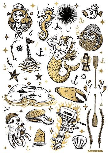 t Label aus Berlin Temporäre Tattoos #007 sea & sailor by Robokid Tätowierungsaufkleber Tattoo Tat Damen Herren Kinder Körperkunst Aufkleber (Gold) ()