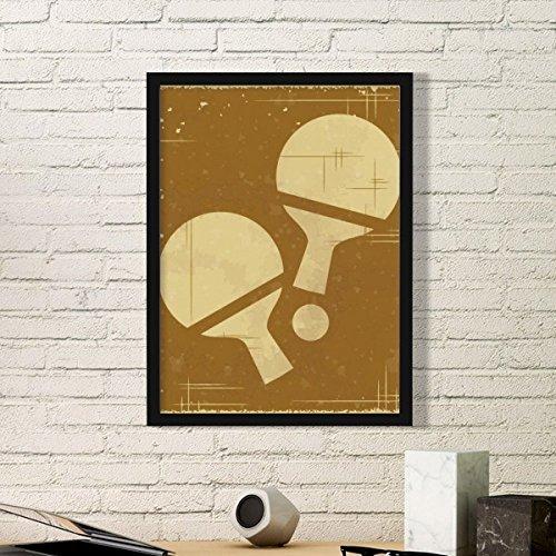 DIYthinker Tischtennis Sport Illustration Muster Kunst Gemälde Bild Foto Holz Rechteck Rahmen Home Wand Decor Geschenk Small Schwarz (Sport-foto-rahmen)
