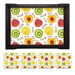 Nutcase Designer Wooden Serving Trays With A Set Of 4 Matching Metal Coasters for Kitchen Serving/Dining Set - Kiwi And Peach