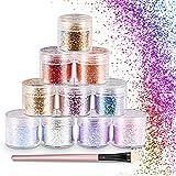 WOSTOO Glitter,Set di Polvere Glitter Polvere Glitterata Esagoni Trucco Cosmetico Glitter Paillette Scintillante Decorazione Glitter Capelli, Corpo, Guance e Unghie - (Confezione da 10)