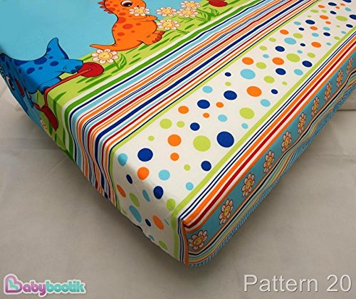COTTON FITTED SHEET 70x140cm (in favorite fabric pattern/design) – Dino Blue