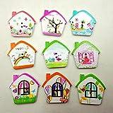 QHGstore 100pcs mezclaron los botones de costura de madera de 2 agujeros artesanía Cámara de pintura Botones de bricolaje