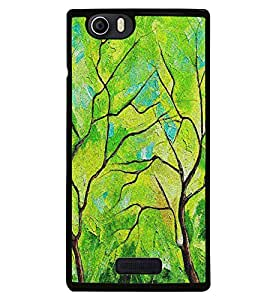 Fiobs High Glossy Designer Phone Back Case Cover Micromax Canvas Nitro 2 E311 ( Retro Green Oil Paint Look )