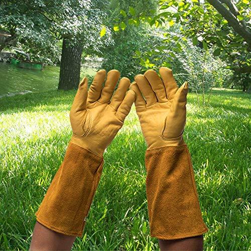 Walmics Ziegenleder Thorn Proof Pannensichere Handschuhe aus Leder, Gartenhandschuhe, strapazierfähig, Lange Ärmel, durchstichfeste Unterarm-Protektoren für Rosen, Dornen, Kaktus (Thorn Proof-garten-handschuhe)