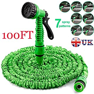 Autofather Expandable 100FT Flexible Garden Water Hose Pipe Light Weight 3x Expanding Fitting with Spray Gun 7 Spraying Patterns Universal Connector Useful for Washing Cleaning Watering (Green)