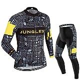 (3D Sitzpolster)(Typ:Anzüge Größe:L) Herren Radtrikot Fahrrad Trikot lange Radhose Set Kurzarm jerseys