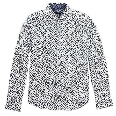 Aigle plume Chemise pour homme manches longues imprimé Brave Soul doux 100% coton poche poitrine avec bouton - - Medium