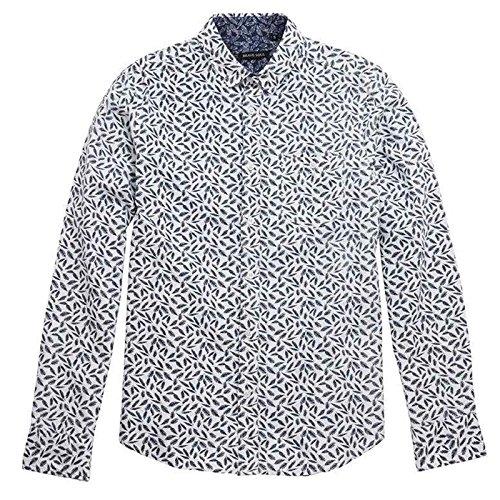 Camicia da uomo Brave Soul A Maniche Lunghe Piume Eagle Stampa morbido tasca sul petto con bottoni 100% cotone Optic White/Ink Medium