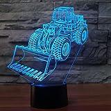 BSDZZ Lampada 3D Carrello elevatore Modello di auto 3d Luce notturna 7 Cambia colore Usb Scrivania Tavolo Lampadina Luce Lampadina Illuminazione per dormire per bambini Regalo