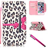 iPhone 5S Case, iPhone 5 Wallet Case, Firefish Stand Flip Folio Wallet Cover Shock Resistance Protective Shell with Cards Slots Magnetic Closure for Apple iPhone 5/5S/SE-Leopard