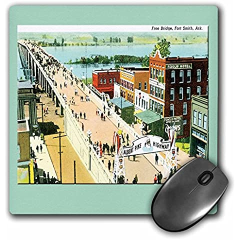 BLN Vintage US Cities and States Postcards - Free Bridge, Fort Smith Arkansas as Seen from Above - Albert Pike Highway - MousePad (mp_160721_1) - Arkansas Postcard